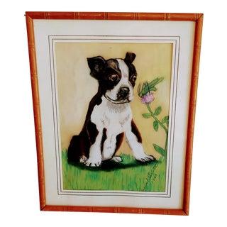 Vintage 1940s French Bulldog Boxer Framed Pastel Painting