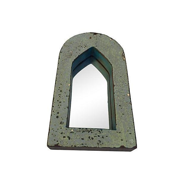 Boho Chic Brown & Blue Indian Archway Mirrors - A Pair For Sale - Image 3 of 5