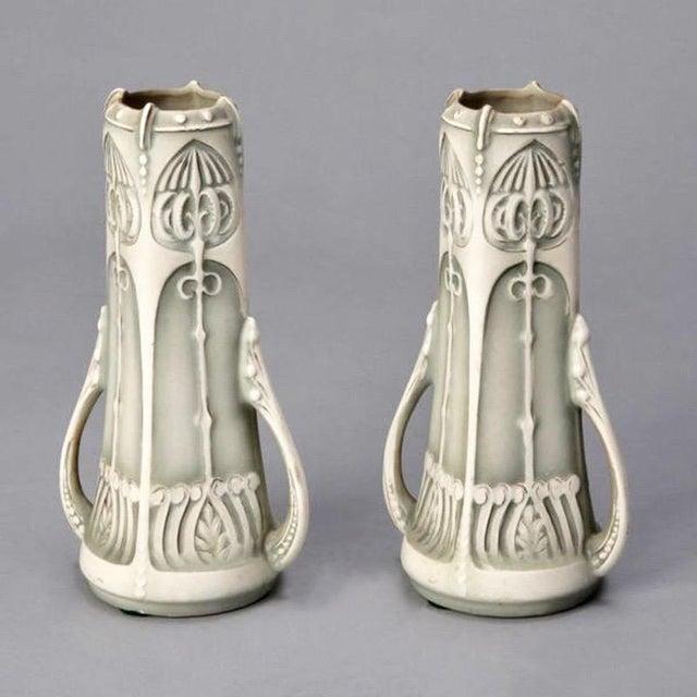 Pair Art Nouveau Pale Green & Cream Ceramic Vases - Image 5 of 5