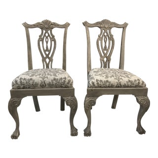Chippendale Style Gray/White Tones Dining Room Side Chairs - - a Pair