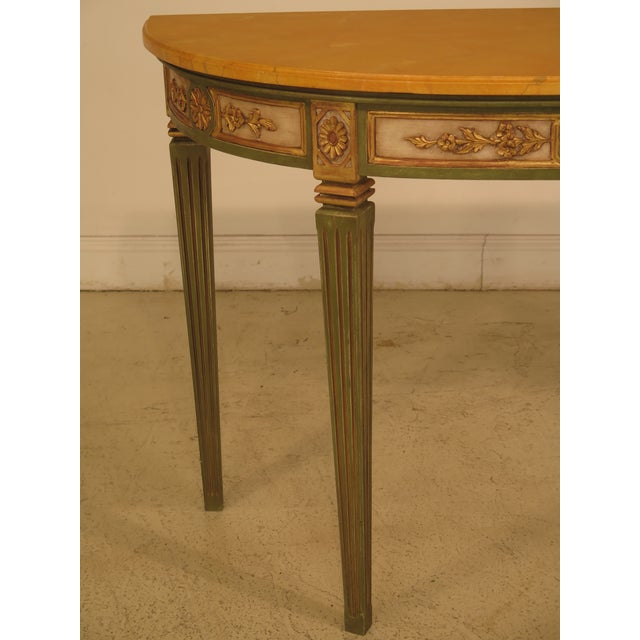 French Louis XVI Style Paint Decorated Console Table Age: Approx: 40 Years Old Details: French Style Faux Marble Paint...