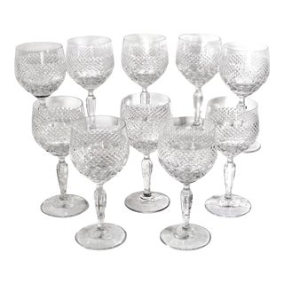 Mikasa Wine Glasses Blown Glass in Autumn Vale Pattern - Set of 10 For Sale
