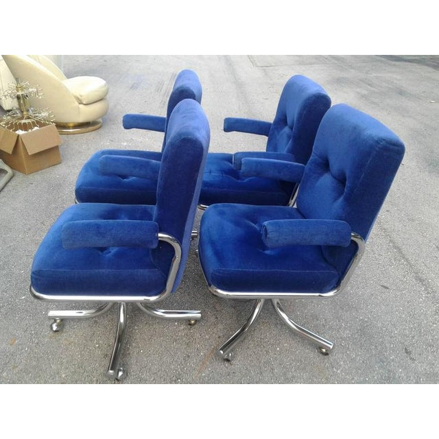 Vintage Hollywood Regency Chrome Swivel Arm Chairs - Set of 4 - Image 9 of 12