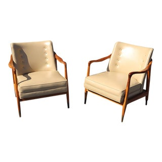 Pair of Italian Mid-Century Modern Walnut Lounge Chairs For Sale