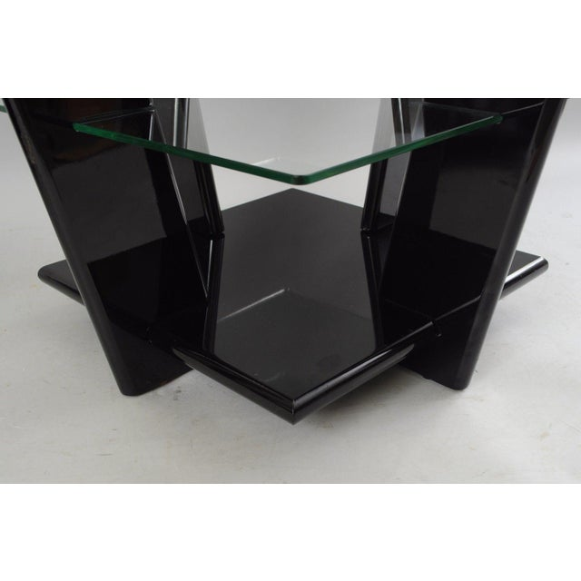 Pair of Contemporary Modern Black Lacquer & Glass 3 Tier End Tables Sculptural For Sale In Philadelphia - Image 6 of 11