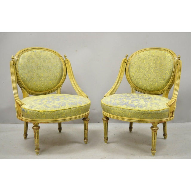 French Vintage French Louis XVI Style Low Petite Boudoir Small Hiprest Chairs - a Pair For Sale - Image 3 of 13