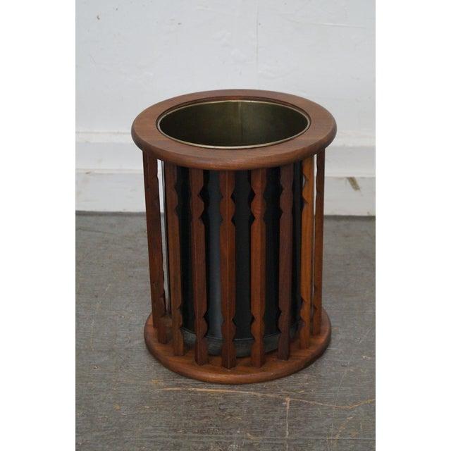American Mid Century Modern Atomic Age Small Patio Round: Mid Century Danish Modern Style Walnut Waste Basket And