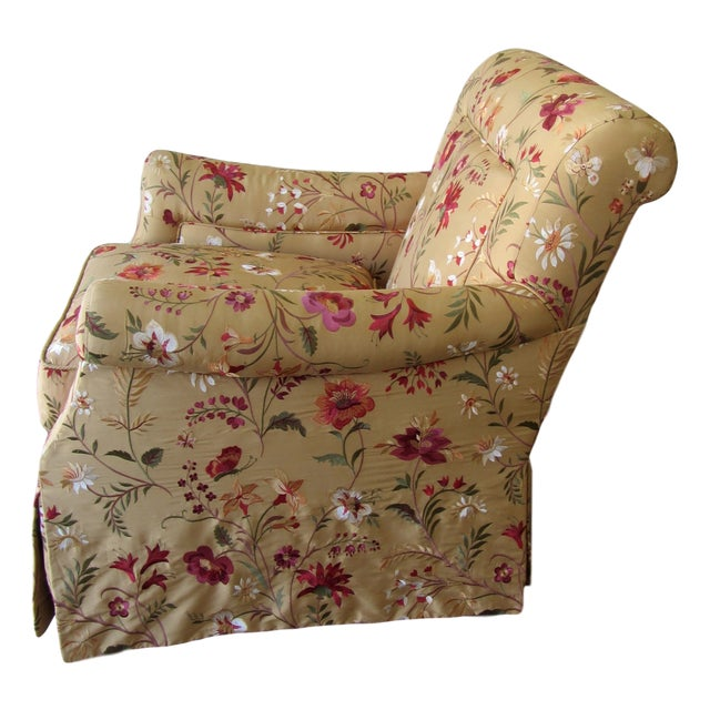 Silk Embroidered March Rocker Swivel Glider Chairs - a Pair - Image 3 of 8