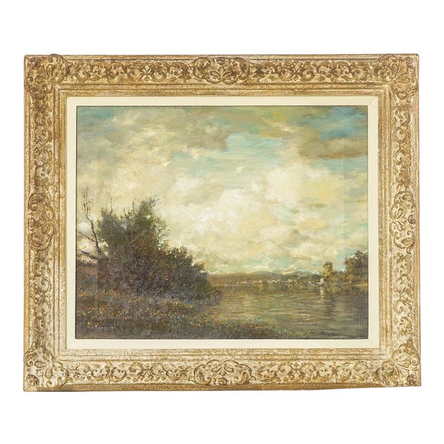 19th Century Oil on Canvas, Listed Artist Landscape For Sale