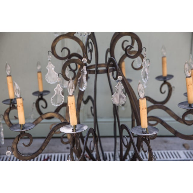 Large Iron Chandeliers With Crystal Pendalogues - Image 4 of 7