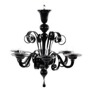 2010s Murano Black Glass Chandelier