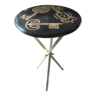 1960s Vintage Fornasetti Gold Key on Black Ground Side Table For Sale