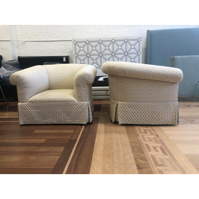 Custom Rolled Arm Swivel Chairs - a Pair For Sale - Image 4 of 9