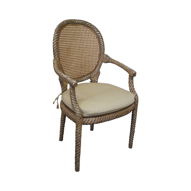 Hollywood Regency Gilt Painted Rope Turned Chair - Image 1 of 10
