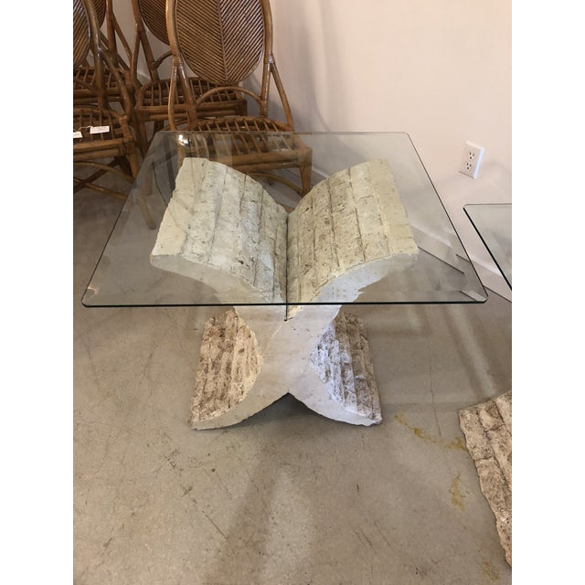 Coquina & Stone Glass Top Tables For Sale - Image 4 of 9