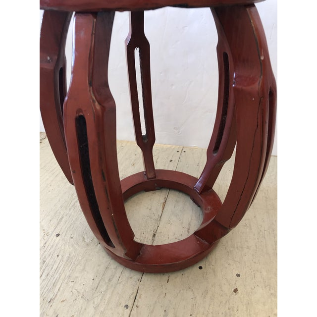 1950s Red Chinese Carved Wood Garden Seat Side Table For Sale - Image 5 of 8