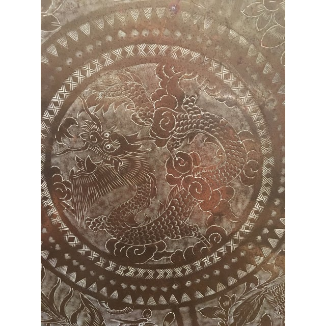 This is a vintage mid-century tray or platter from China. The piece is etched with dragons, birds, and tigers. Stamped...