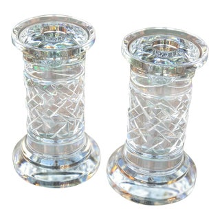 Ralph Lauren Herringbone Crystal Candle Holder's For Sale