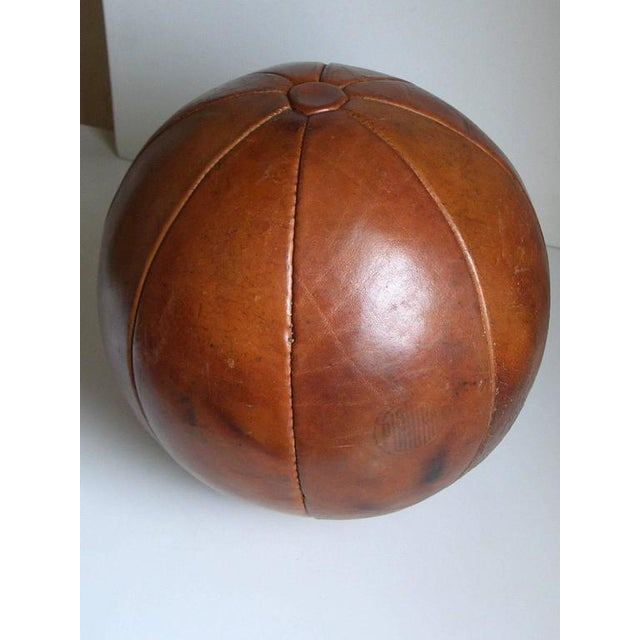 Vintage leather medicine ball by Platura For Sale - Image 4 of 11