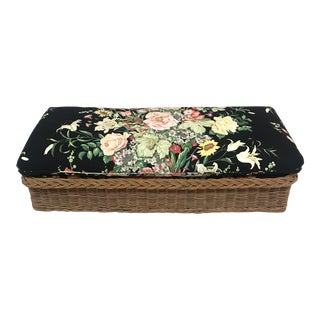 Wicker Floral Cushion Bench