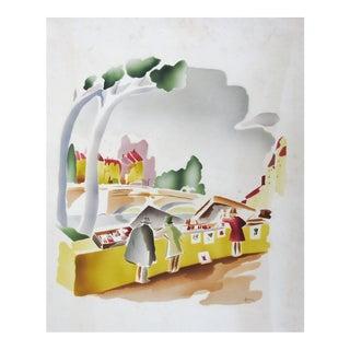 Benjamin Jorj Harris Airbrush Watercolor Artist Street Market For Sale