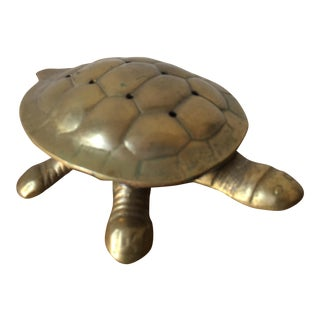 Mid-Century Brass Turtle Box For Sale