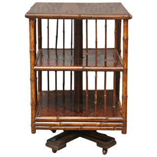 19th Century English Turning Bamboo Table on Wheels For Sale