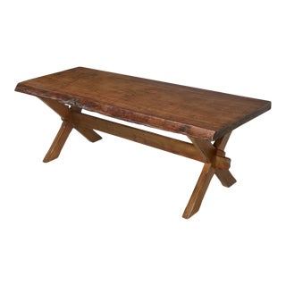 Antique French Mahogany Trestle Table For Sale