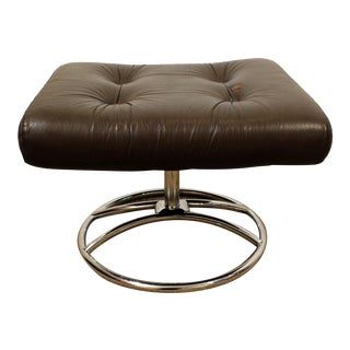 Mid-Century Danish Modern Ekornes Stressless Chrome Leather Ottoman #2