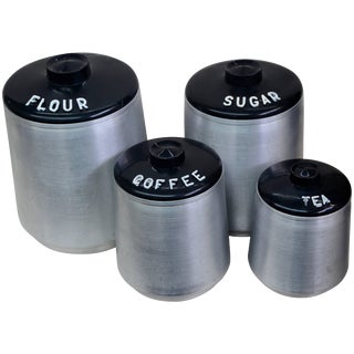 Mid-Century Aluminum Four-Piece Canister Set by Kromex For Sale