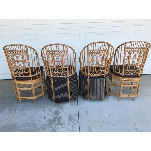 Asian Thomasville Brighton Pavillion Vintage Rattan Chair - Set of Four For Sale - Image 3 of 13