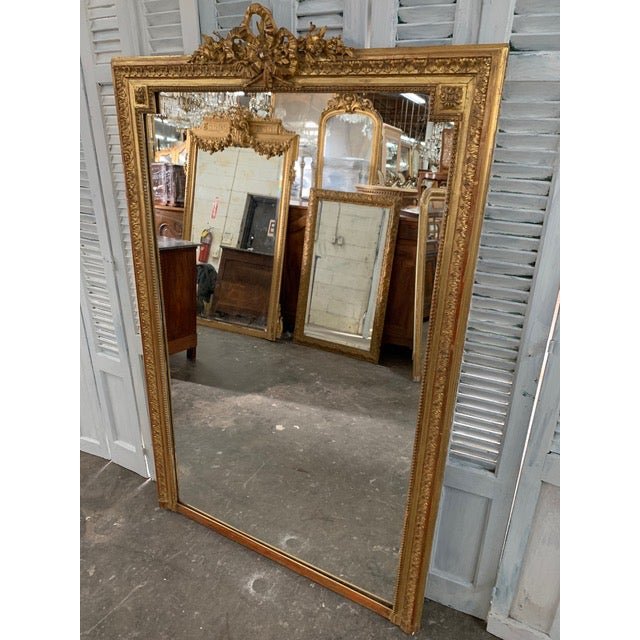 French Provincial 18th Century French Napoleon III Period Mirror For Sale - Image 3 of 6