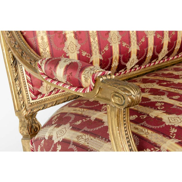 Wood Early 19th Century Louis XVI Style Giltwood Frame Settee For Sale - Image 7 of 13