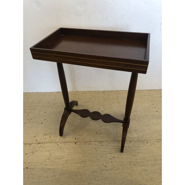 Mahogany Rectangular Small End Table With Banded Inlay For Sale - Image 9 of 11