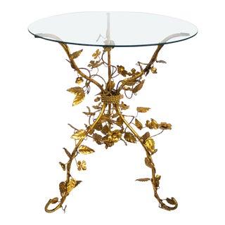 1960s Italian Tole Gold Gilt Table For Sale