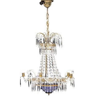 Antique 1900s Gustavian Swedish Crystal Chandelier For Sale