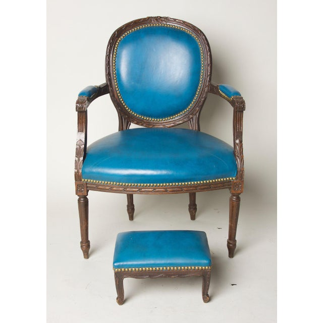 Blue Early 20th Century Vintage Fauteuil in Blue Leather Chair & Footstool For Sale - Image 8 of 8