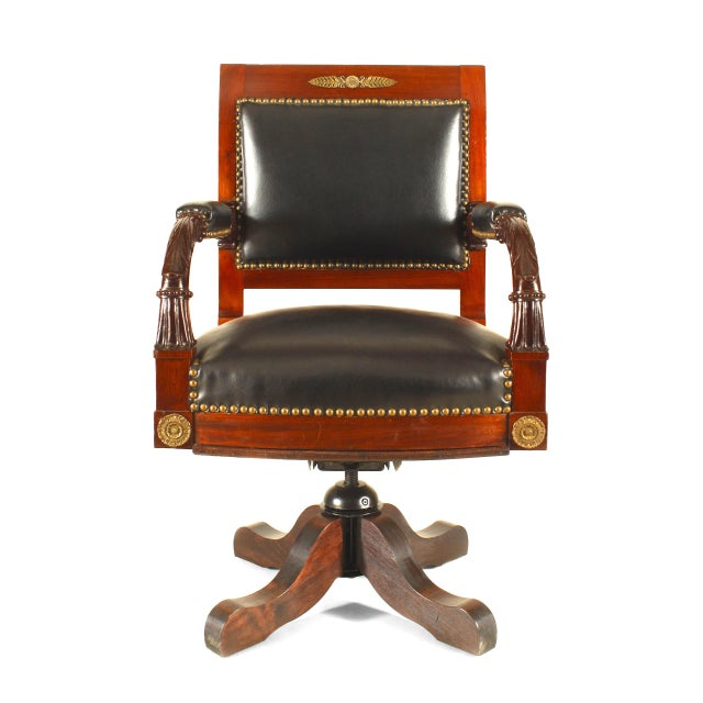 French Empire Black Leather Swivel Chair For Sale - Image 4 of 4