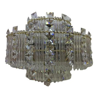 Vintage Faceted Crystal Sconce Mid-Century With Brass Detail For Sale