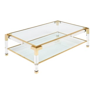 Brass and Lucite French Coffee Table For Sale