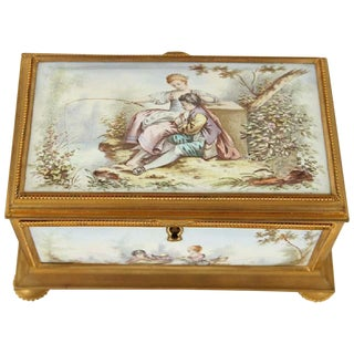 Late 19th Century Gilt Bronze Enameled Jewelry Casket Box Sevres Style For Sale