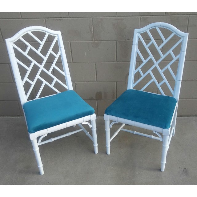 Chippendale Century Chippendale White Faux Bamboo Chairs - a Pair For Sale - Image 3 of 10