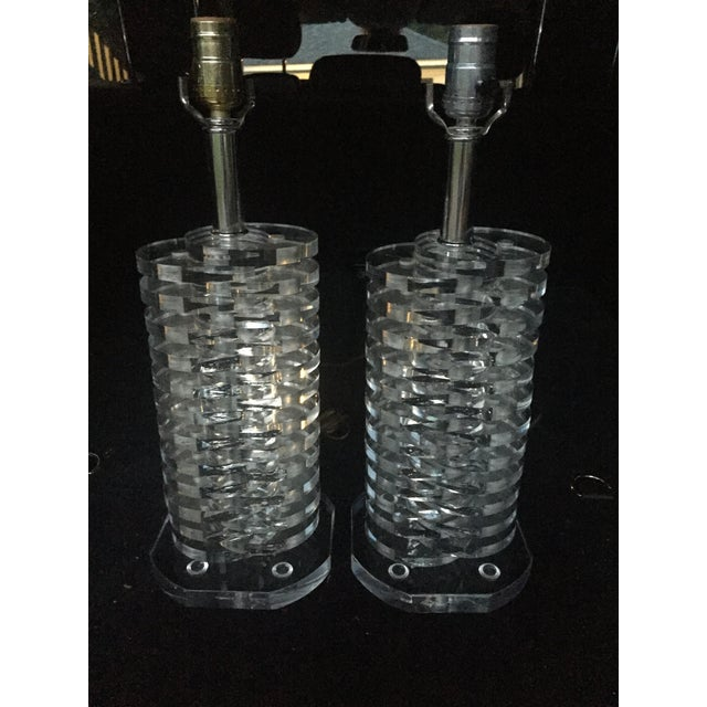 Stacked Lucite Lamps - A Pair - Image 9 of 11