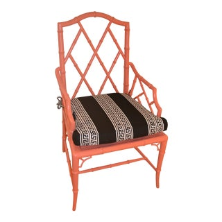 Chippendale Woodbridge Furniture Orange Arm Chair
