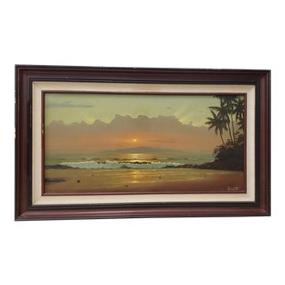 Ray Morissette (Hawaii, 20th C.) Hawaiian Sunset Oil Painting C. 1970s For Sale
