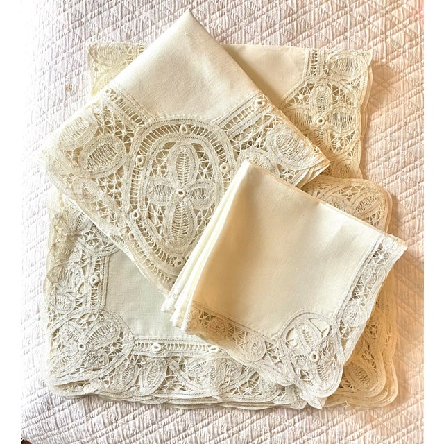 Antique White Antique Battenberg Tape Lace Tablecloth, 8 Placemats, Runner and 8 Napkins, 4 Cocktail Napkins- 22 Piece Set For Sale - Image 8 of 8
