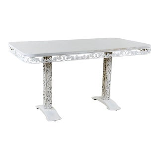 Hollywood Regency White Iron Dining Table For Sale
