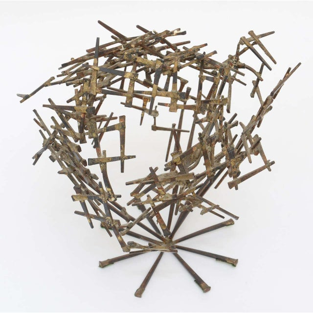 1970s One Of A Kind Brutalist Abstract Nail Tabletop Globe Sculpture For Sale - Image 5 of 10