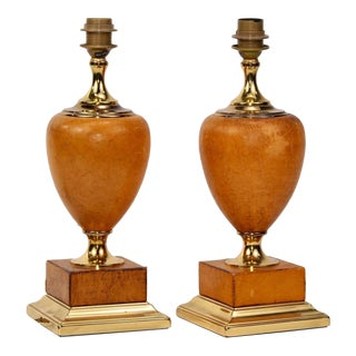 Pair Italian Art Deco Leather and Brass Lamps For Sale