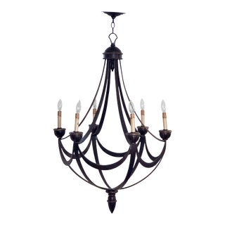 """American Six-Light Chandelier or Hanging Fixture, Modern Empire Style (Dia 29"""") For Sale"""